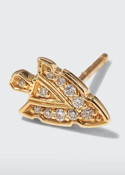 14k Tiny Diamond Arrowhead Stud Earring, Single
