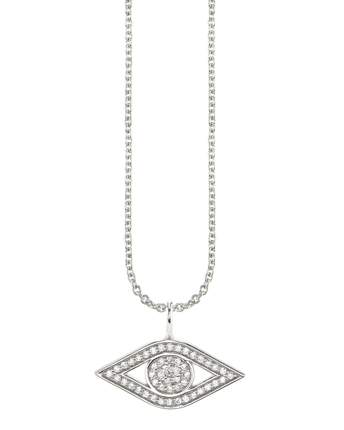 Sydney Evan  14K WHITE GOLD SMALL DIAMOND EVIL EYE NECKLACE