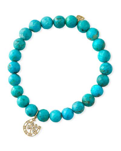 14k Diamond Lucky Charm & Turquoise Bracelet