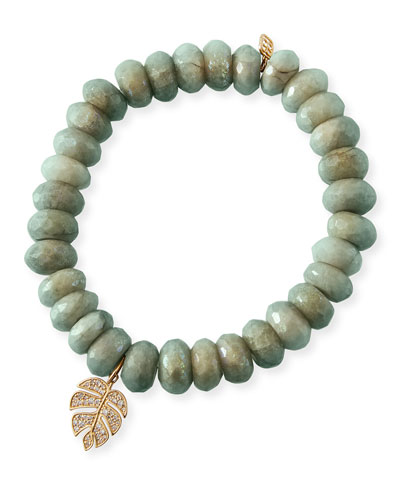 14k Diamond Monstera & Aqua Bracelet