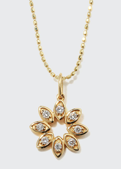14k Diamond Marquise Flower Necklace