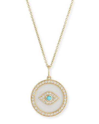 14k Evil Eye Diamond Medallion Necklace w/ Turquoise