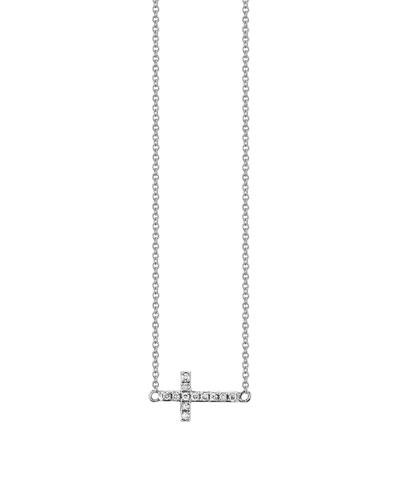 14k White Gold Mini Diamond Cross Necklace