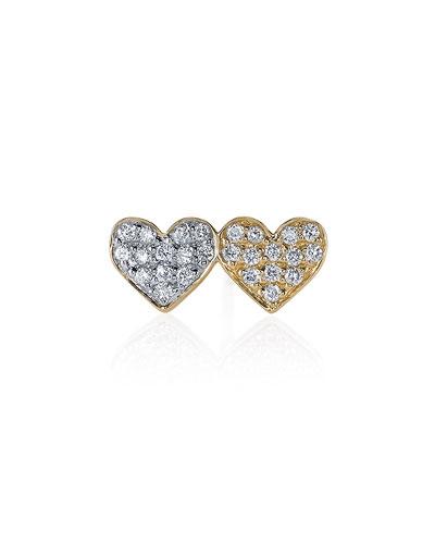 14k Double-Heart Diamond Stud Earring, Single