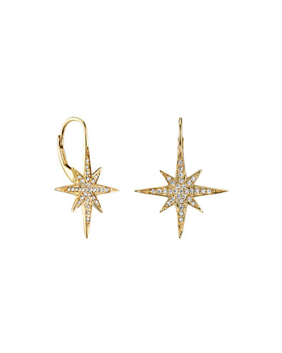 14k Diamond Pave Starburst Drop Earrings