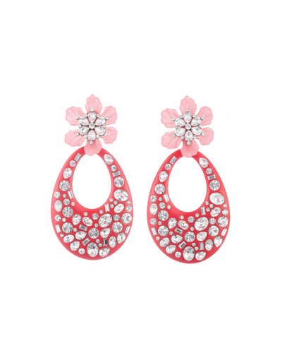 Blossom Crystal Flower & Teardrop Earrings
