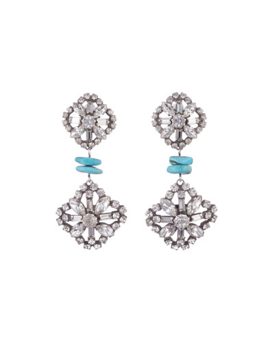 Jaws Crystal & Malachite Drop Earrings