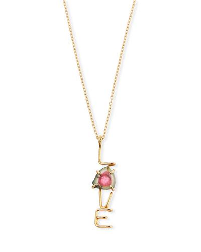 18k LOVE & Tourmaline Pendant Necklace