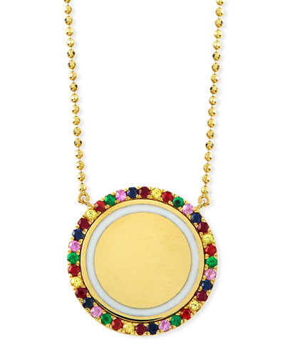 14k Gold & White Enamel Disc Pendant Necklace w/ Mixed Stones