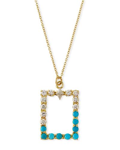Old World Rectangular Pendant Necklace w/ Diamonds & Turquoise