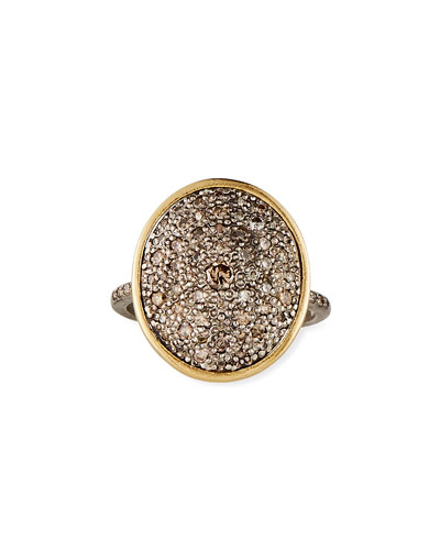 Old World Diamond Pave Oval Ring, Size 6.5