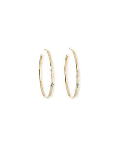 Old World Diamond Hoop Earrings w/ 18k Gold