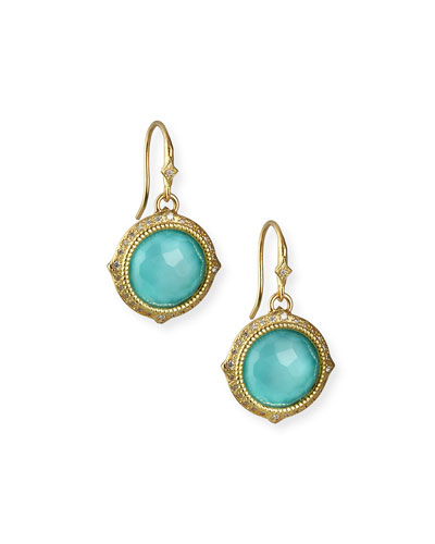 Old World Turquoise/Quartz Drop Earrings w/ Diamonds & 18k Gold