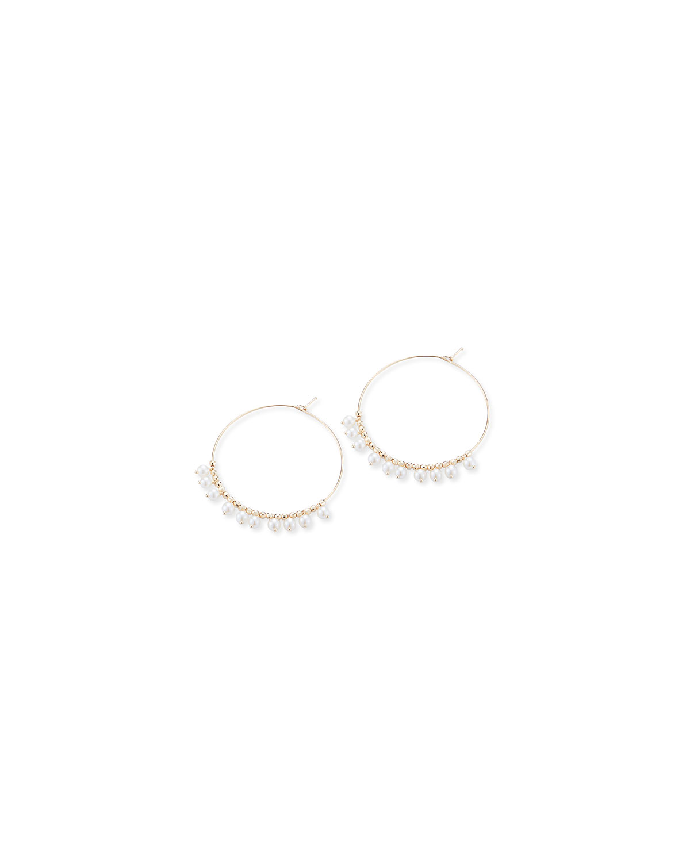 Mizuki Accessories 14K GOLD SMALL HOOP & PEARL DANGLE EARRINGS