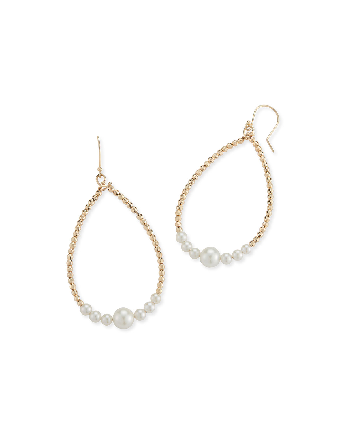 Mizuki Accessories 14K GOLD PEARL TEARDROP HOOP EARRINGS