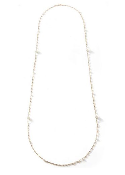 14k Gold Long Wrapped Necklace w/ Akoya Pearls