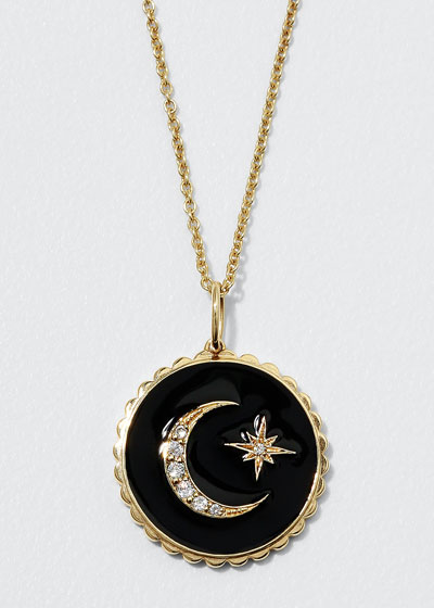 14k Black Celestial Medallion Necklace w/ Diamonds