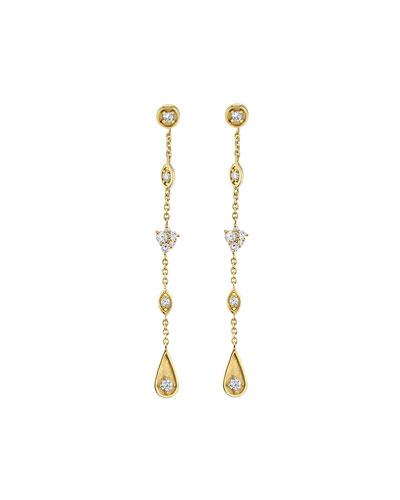 14k Long Diamond Mixed-Drop Earrings