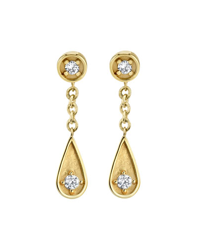 14k Diamond Post & Teardrop Earrings