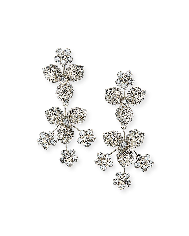 Jennifer Behr Accessories LARGE CRYSTAL FLOWER & LEAF EARRINGS