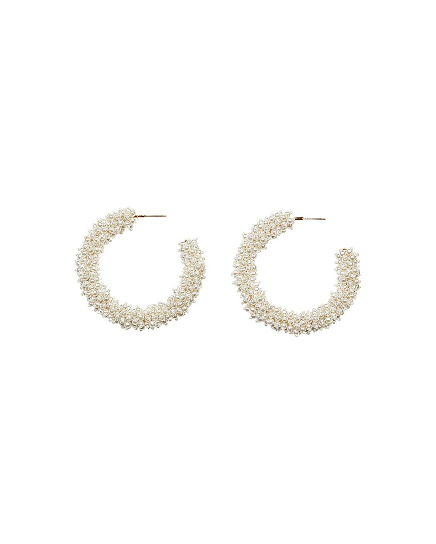 Mignonne Gavigan Jewelries TAYLOR HOOP EARRINGS, WHITE