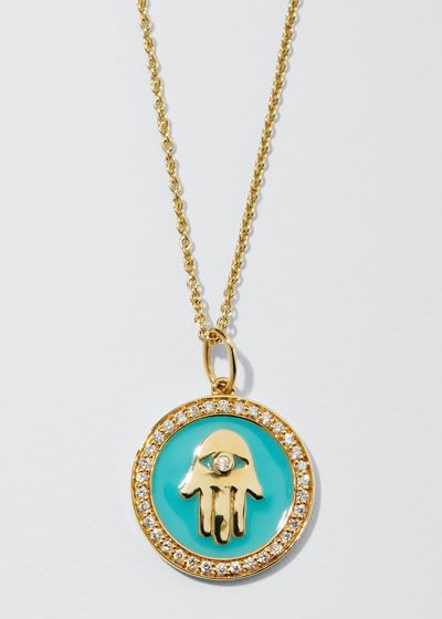 14k Hamsa Enamel Medallion Necklace w/ Diamond Pave