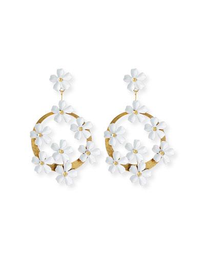 Marguerite Floral Hoop-Drop Earrings