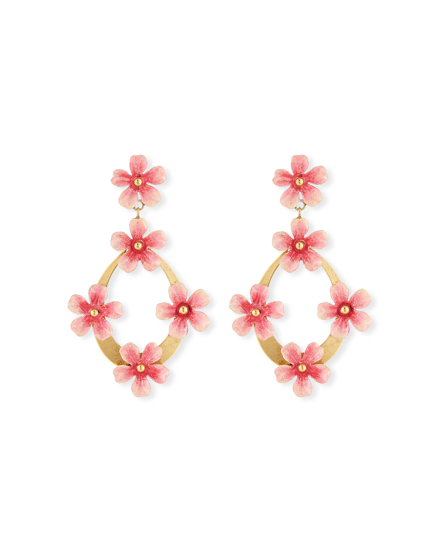 Jennifer Behr Accessories MACHELLE FLOWER HOOP-DROP EARRINGS