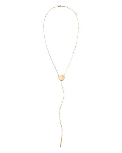 14k Y-Drop Disc Necklace, 15mm