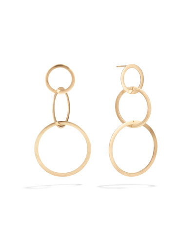 Small 14k Gold Flat 3-Hoop Earrings