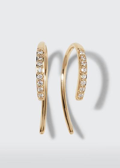 14k Diamond Mini Hooked Earrings