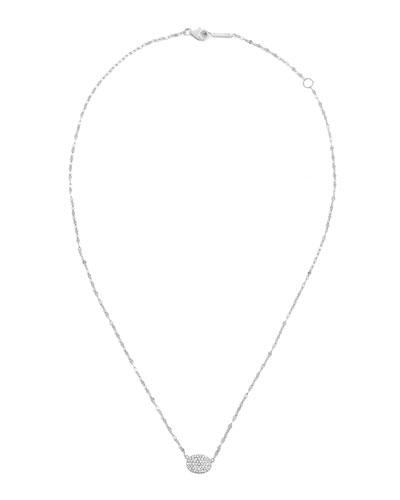 14k Diamond Pave Oval Pendant Necklace