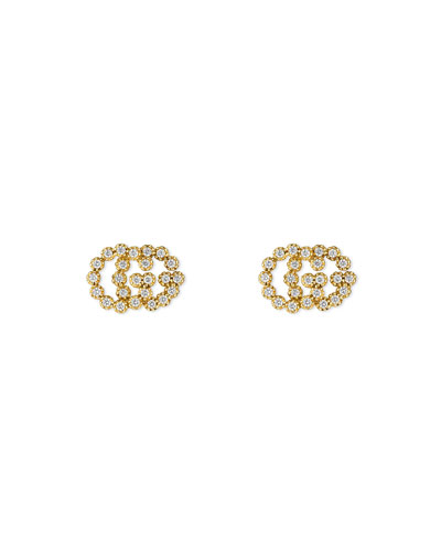GG Running 18k Stud Earrings w/ Diamonds