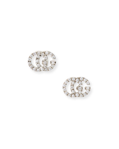 Running G Pave Diamond Stud Earrings in 18K White Gold