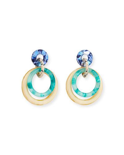 Interlocking Double-Ring Drop Earrings