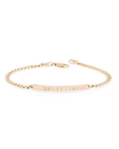 Personalized 14k Small Curb-Chain Date Bracelet