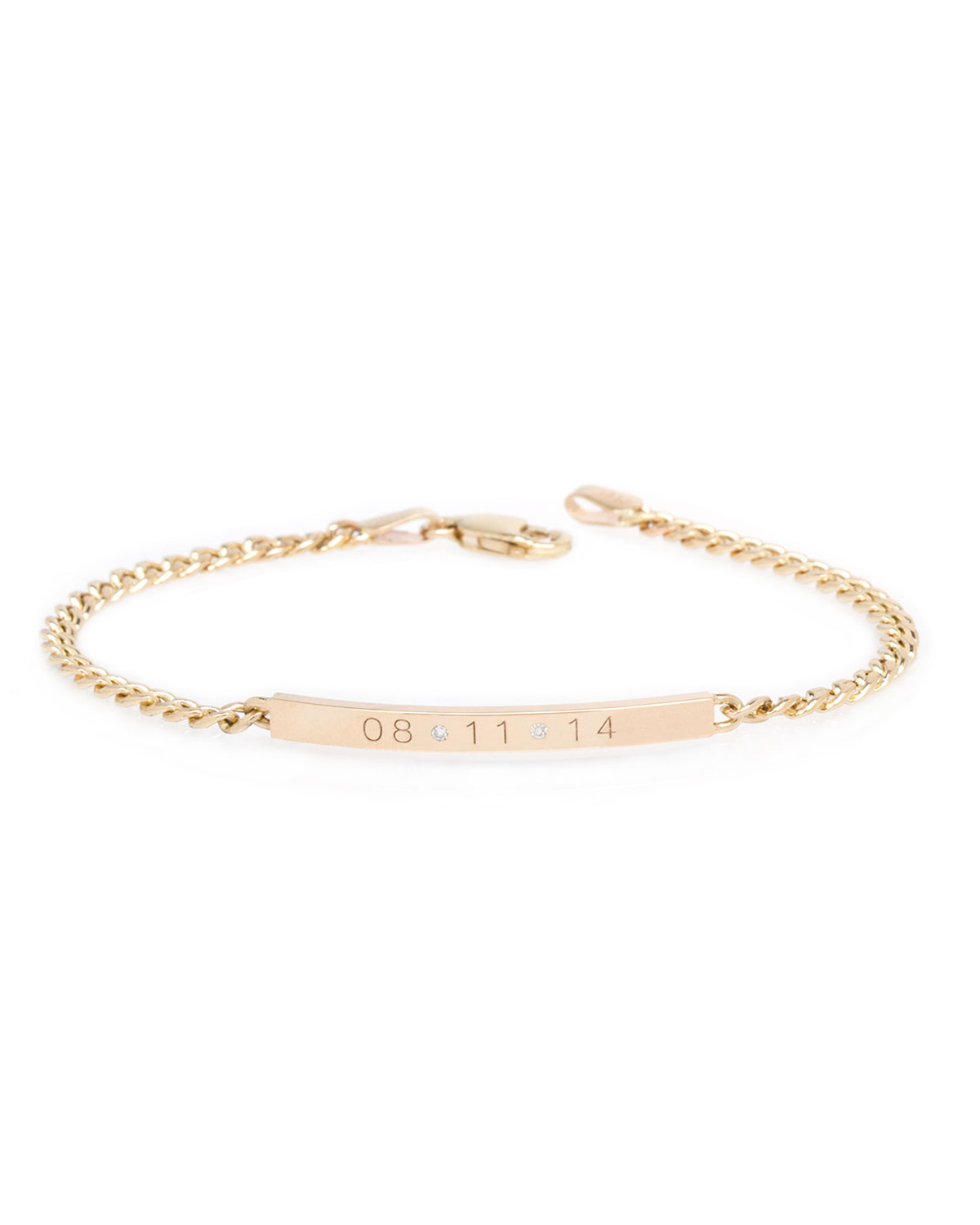 Zoë Chicco PERSONALIZED 14K SMALL CURB-CHAIN DATE BRACELET