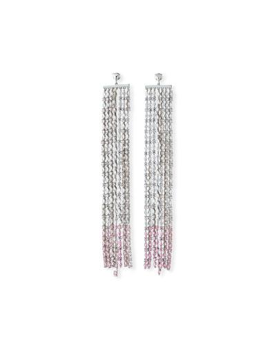 Waterfall Crystal Earrings, Clear/Pink