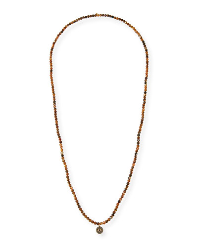 14k Diamond Evil Eye Long Beaded Necklace