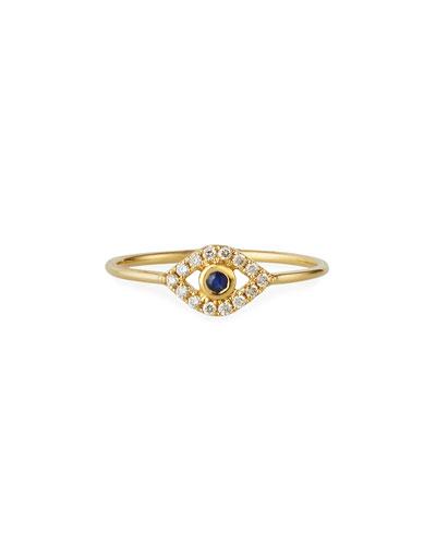 14k Diamond Pave Evil Eye Ring, Size 6.5