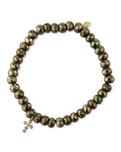 14k Diamond Cross & Pyrite Bead Bracelet