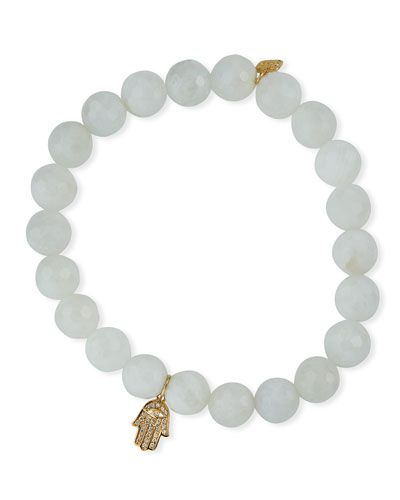 14k Diamond Hamsa & 8mm Moonstone Bracelet