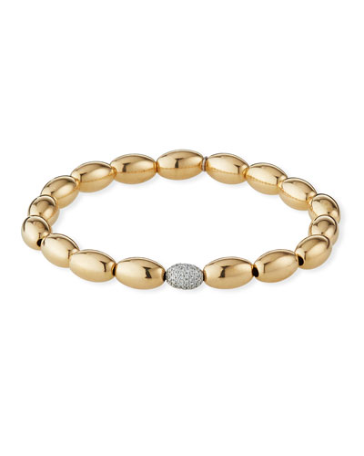 14k Gold 6mm Bead & Diamond Bracelet