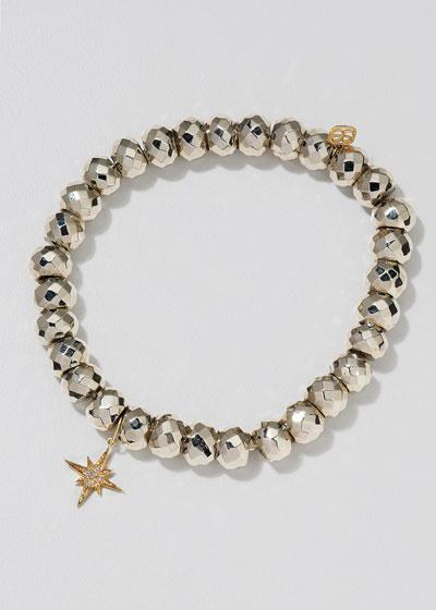 14k Diamond Starburst & Pyrite Bead Bracelet