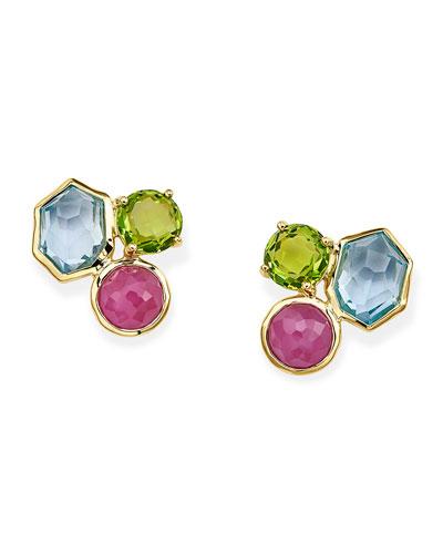 Rock Candy 3-Stone Stud Earrings in Summer Rain