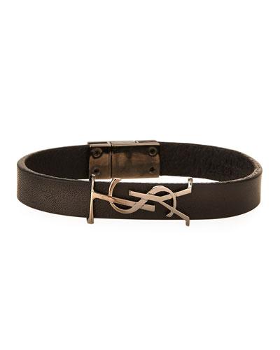 Leather YSL Monogram Bracelet, Black, Size Small
