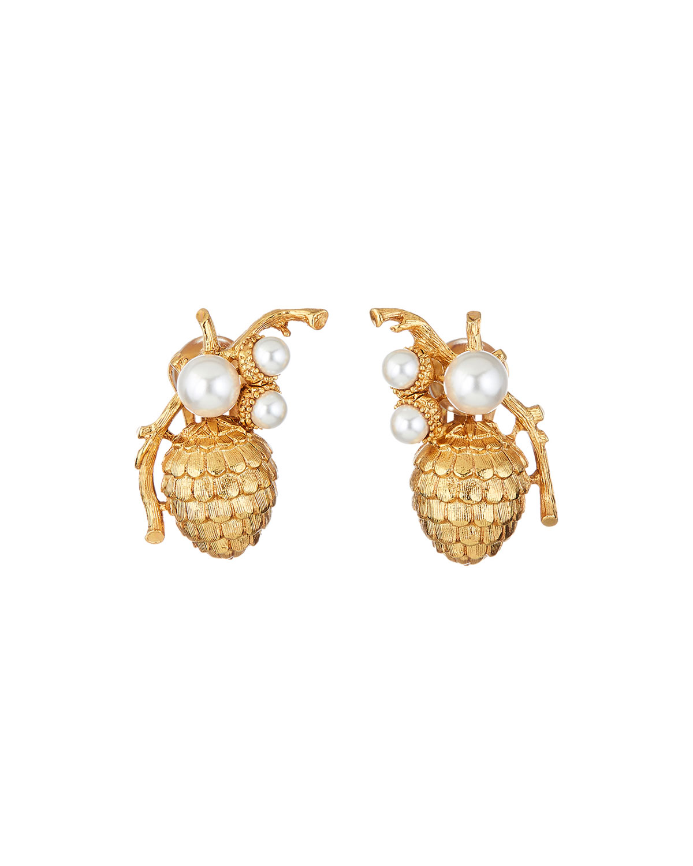 Oscar De La Renta Accessories PEARLY PINE CONE CLIP EARRINGS