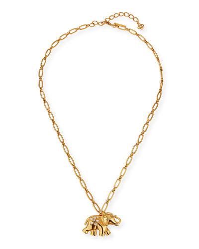Large Elephant Pendant Necklace