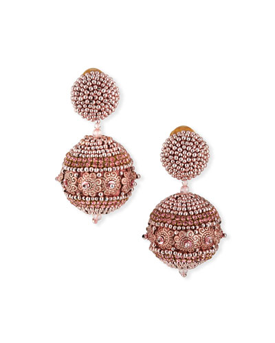 Beaded Ball Earrings, Rose Gold