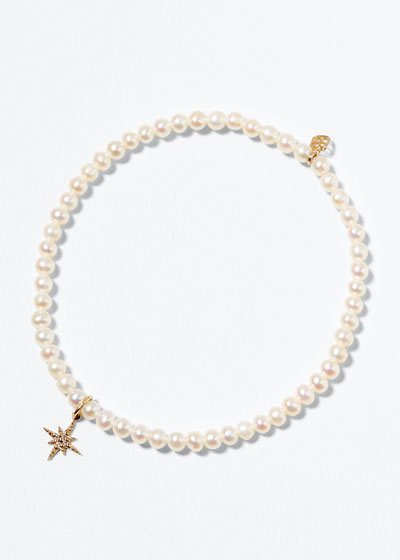 14k Diamond Mini Starburst and Pearl Bracelet